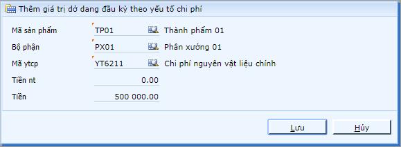 Cap nhat chi phi do dang dau ky