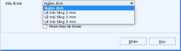 Chọn canh lề cho mẫu in sổ sách kế toán 2